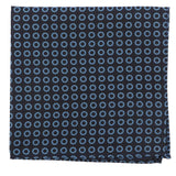 Black & Blue Big Circle Silk Pocket Square - Handmade Silk Wool And Knitted Ties by Tie Doctor