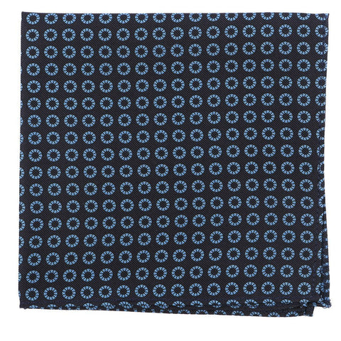 Black & Blue Big Circle Silk Pocket Square - TIE DOCTOR online