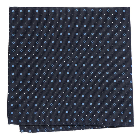 Navy Blue Small Circles Silk Pocket Square - Handmade Silk Wool And Knitted Ties by Tie Doctor