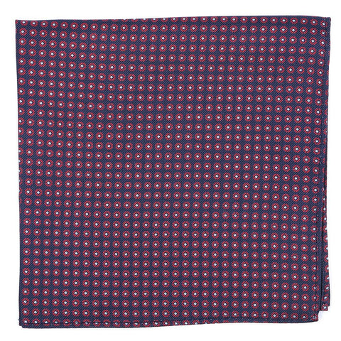 Limited Edition Navy & Red Circle Silk Pocket Square