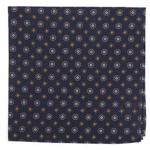 Navy & Brown Silk Pocket Square