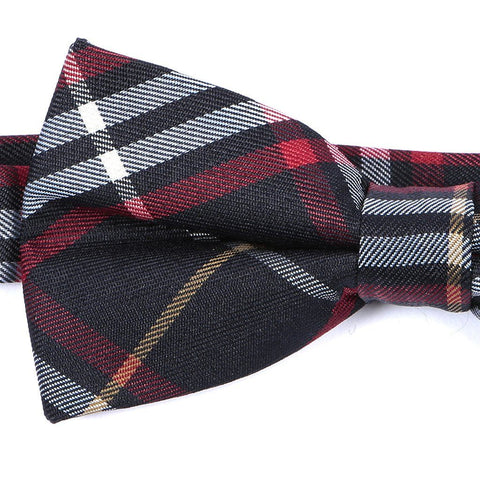 Blue & Red Check Bow Tie - Handmade Silk Wool And Knitted Ties by Tie Doctor