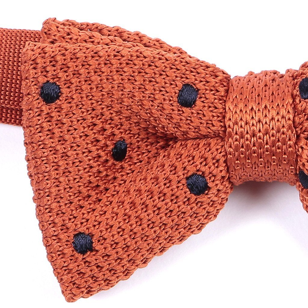 Orange & Navy Dots Knitted Bow Tie - Handmade Limited Edition Ties by Tie Doctor