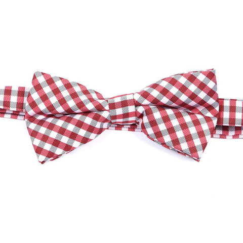 Red & White Check Bow Tie - Handmade Limited Edition Ties by Tie Doctor