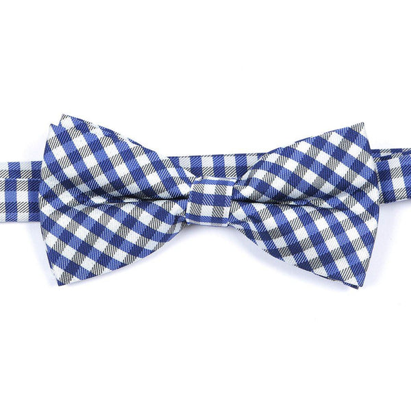 Blue Check Bow Tie - Handmade Silk Wool And Knitted Ties by Tie Doctor