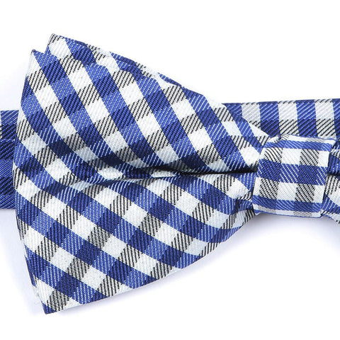 Blue & White Check Bow Tie - Handmade Silk Wool And Knitted Ties by Tie Doctor