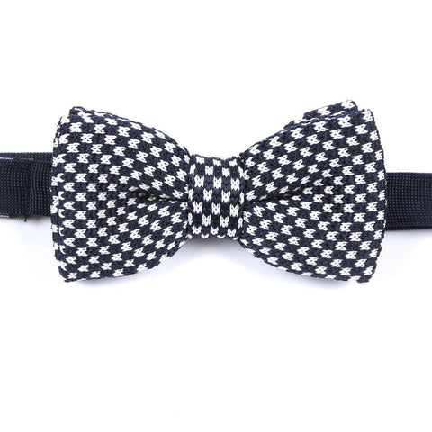 Navy & White Knitted Bow Tie