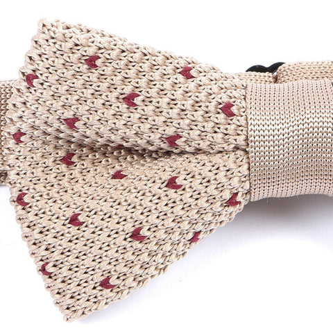Cream & Red Starred Knitted Bow Tie - Handmade Silk Wool And Knitted Ties by Tie Doctor