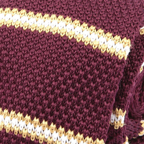 Burgundy & Yellow Knit Tie - Handmade Silk Wool And Knitted Ties by Tie Doctor