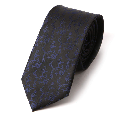Black and navy floral skinny tie - Handmade Silk Wool And Knitted Ties by Tie Doctor