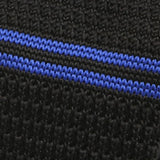 black & navy striped knitted tie - Handmade Limited Edition Ties by Tie Doctor