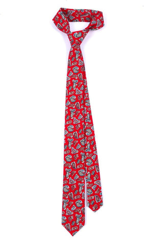 Red Check Paisley Slim Cotton Tie