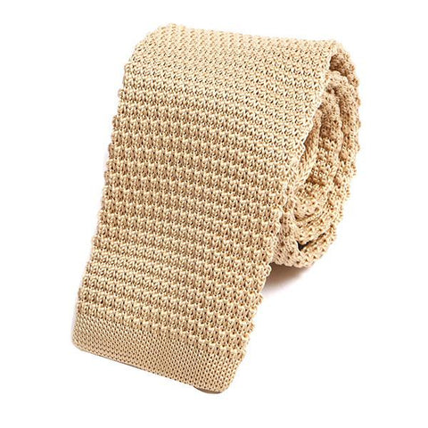 Cream knitted tie - Handmade Silk Wool And Knitted Ties by Tie Doctor