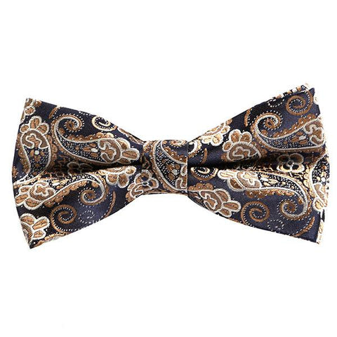 Gold paisley bow tie - Handmade Silk Wool And Knitted Ties by Tie Doctor