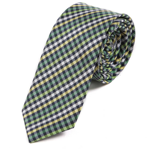 green check slim tie