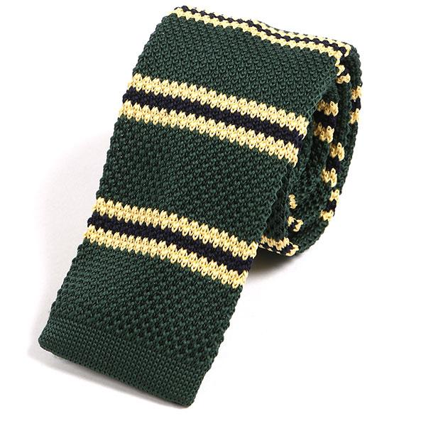 Green & Yellow Knit Tie - Handmade Silk Wool And Knitted Ties by Tie Doctor