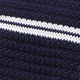 Navy blue striped knit tie
