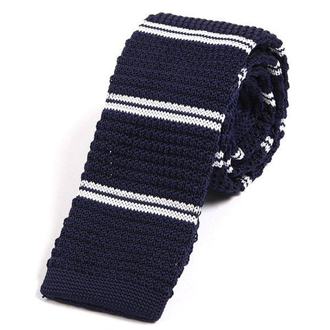 Navy blue striped knit tie - Handmade Silk Wool And Knitted Ties by Tie Doctor