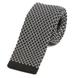White & black mini heart knitted tie