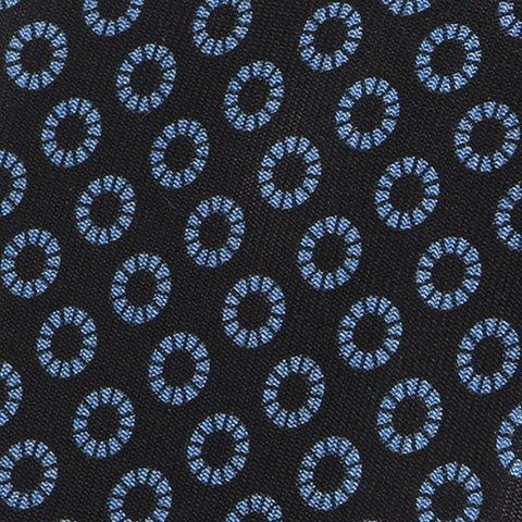 Black and navy big circle pattern silk tie