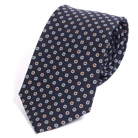 Luxury Navy Multicoloured Silk Ties Circles