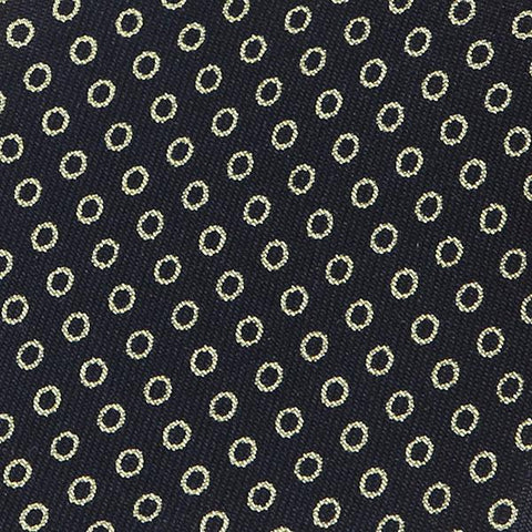 Navy Mini Circles Pattern Silk Tie