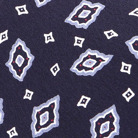 Rich Navy Diamonds Motif Silk Tie