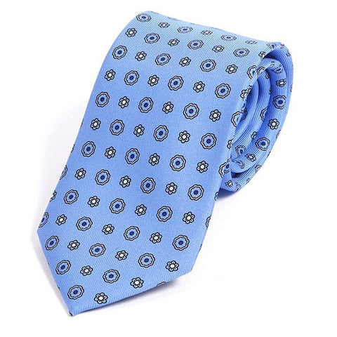 Light blue floral silk necktie - Handmade Silk Wool And Knitted Ties by Tie Doctor