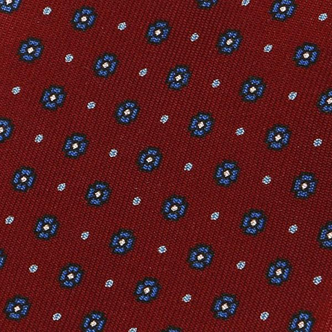 Red & Blue Polka Dot Silk Tie