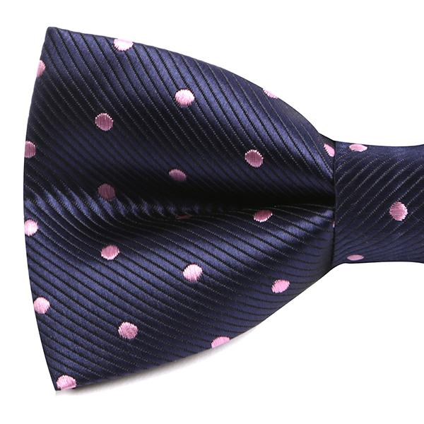 Navy & Pink Polka Dots Bow Tie - Handmade Silk Wool And Knitted Ties by Tie Doctor