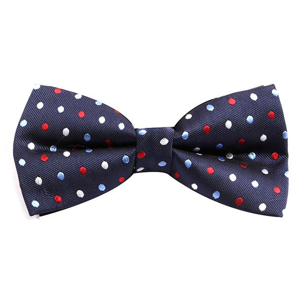 Navy Multicoloured Polka Bow Tie - Handmade Silk Wool And Knitted Ties by Tie Doctor