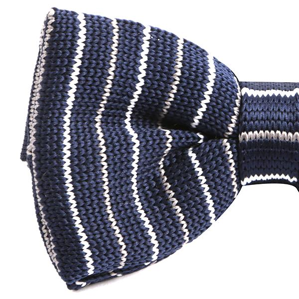 Navy Stripe Patterned Knitted Bow Tie - Handmade Limited Edition Ties by Tie Doctor