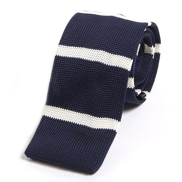 Navy striped knit tie