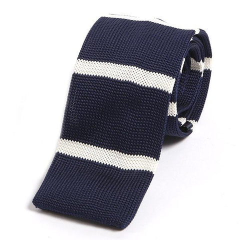 Navy striped knit tie - Handmade Limited Edition Ties by Tie Doctor
