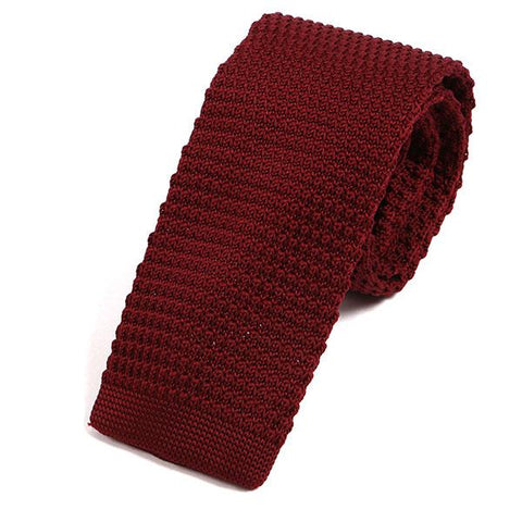 Plain red textured knitted tie - Handmade Limited Edition Ties by Tie Doctor