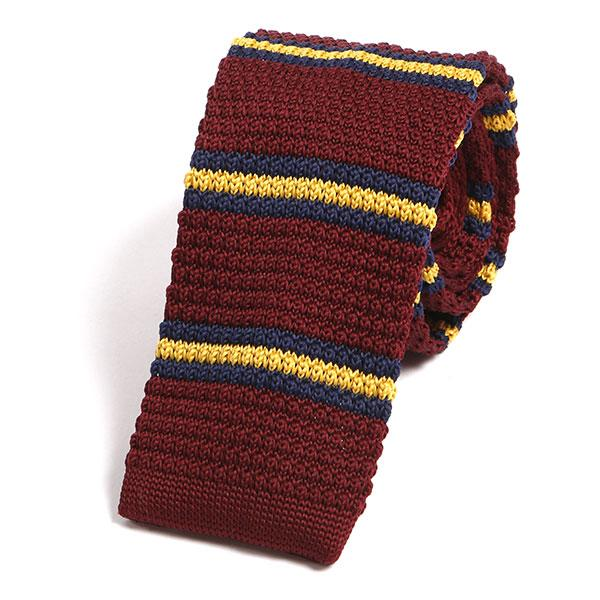 Red striped knitted tie