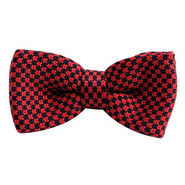 Red & Navy Scale Knitted Bow Tie - Handmade Limited Edition Ties by Tie Doctor