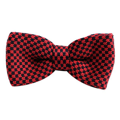 Red & Navy Scale Knitted Bow Tie