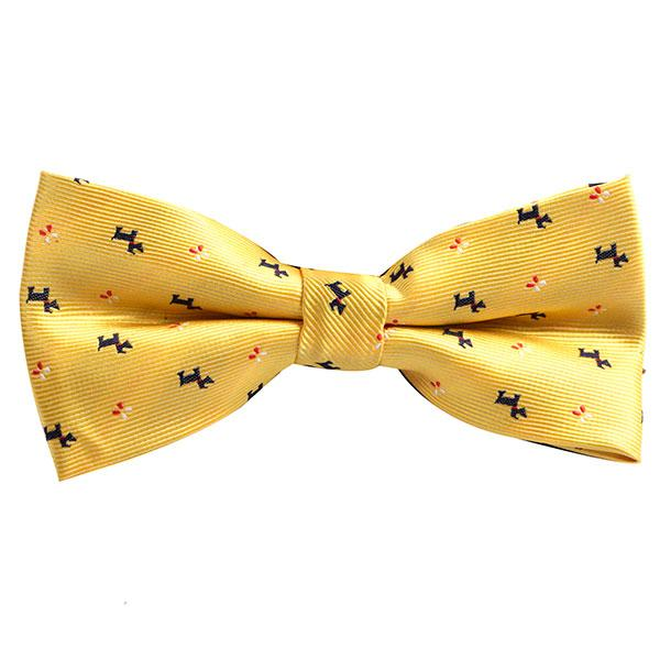 Yellow Dog Patterned Bowtie