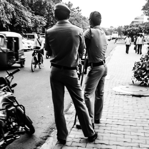 Black And White Photography Prints Indian Policeman Stance