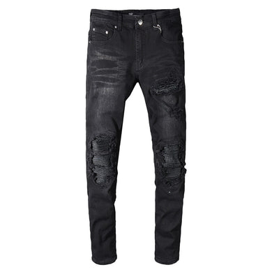 AMRI biker denim - Washed Black