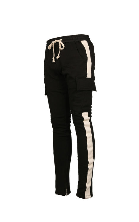 Striped Cargo Sweatpants - Black/White