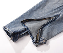 Load image into Gallery viewer, Destroyed Button Zipper Denim - Blue