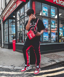 RETRO TRACK PANT - BLACK/RED