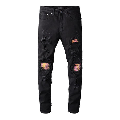 AMRI BIKER PATCH DENIM-BLACK