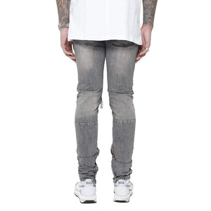DESTROYED REVERSE DENIM - GREY