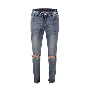 Destroyed Button Zipper Denim - Blue