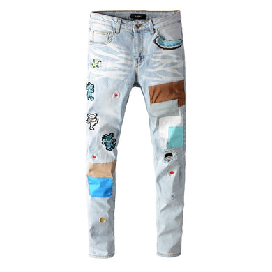 AMRI BEAR PATCH DENIM - LIGHT BLUE