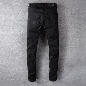 AMRI  BIKER LEATHER JEANS - BLACK