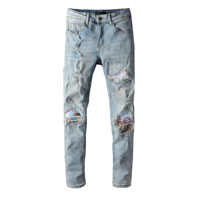 AMRI RIPPED BIKER PATCH DENIM - LIGHT BLUE